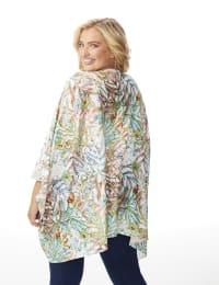 Palm Print Lace Kimono - Plus - Multi - Back