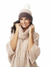 Color block Beanie Winter Hat - Natural Combo - Back