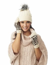 Leopard Jacquard Knit Touch Gloves - Brown Combo - Back