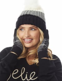 Snowflake Knit Touch Gloves - Black Combo - Back