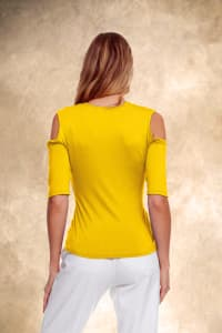 Cold Shoulder Strappy Tee - Yellow - Back