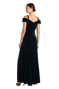 Long Stretch Velvet Off the Shoulder Gown - Hunter Green - Back