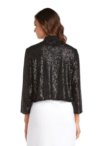 Short Sequin Jacket - Black - Back