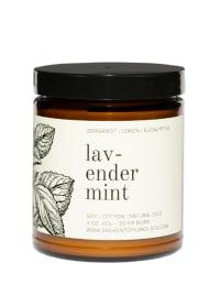 Lavender Mint Candle & Linen Spray Set - Amber Glass - Back