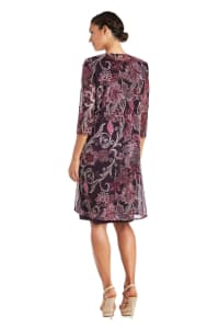 Two-Piece Puff Print Jacket Dress - Plum - Back