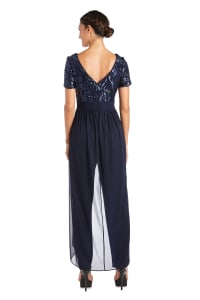 Sequin Bodice High Low Cascade Jumpsuit - Navy - Back