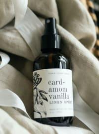 Cardamom Vanilla- Linen Spray 4 oz.- Botanical Collection - Amber Glass - Back