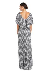 Flutter Capelet Wave Sequin Dress - Back