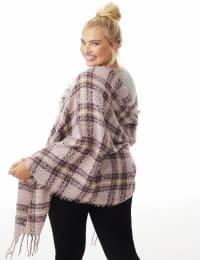 Textured Plaid Scarf - Woodrose - Back