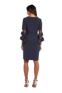 Illusion Bell Sleeve Dress with Rush Rhinestone Detail at Waist - charcoal - Back
