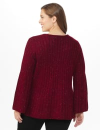 Westport Novelty Yarn Stitch Interest Sweater - Plus - Back