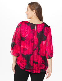Roz & Ali Red Floral Lurex Fly Away Back Blouse - Red - Back