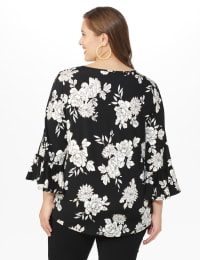 Roz & Ali Gold Foil Floral Knit Top - Plus - Black - Back