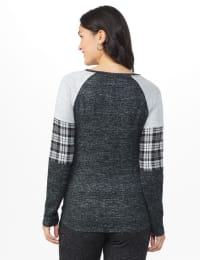 Westport Hacci Sweater Knit Twist Front Top - Black - Back
