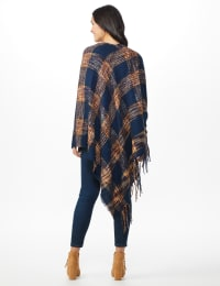 Westport Navy Plaid Fringe Wrap Poncho - Navy - Back