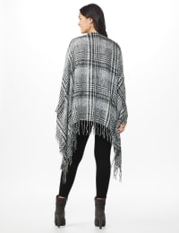 Westport Black Plaid Fringe Wrap Poncho - Black - Back