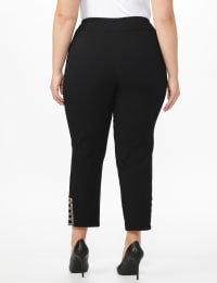 Plus Roz & Ali Pull On Superstretch Ankle Pants with Heat Seal Band Trim - Plus - Black - Back