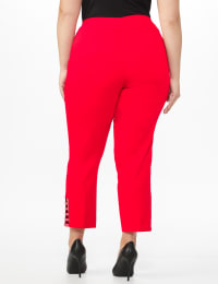Plus Roz & Ali Pull On Superstretch Ankle Pants with Heat Seal Band Trim - Plus - Firecracker - Back