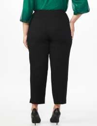 Plus Roz & Ali Superstretch Pull On Ankle Pant With Crystal Heat Seal Trim - Plus - Black - Back