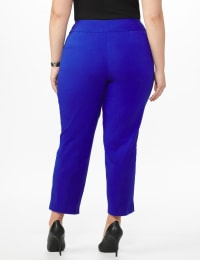 Plus Roz & Ali Superstretch Pull On Ankle Pant With Crystal Heat Seal Trim - Plus - Blue Sapphire - Back