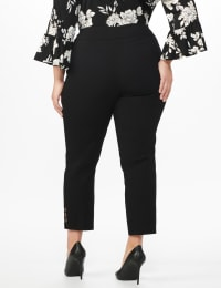 Plus Roz & Ali Superstretch Pull On Ankle Pant with Rhinestone Ring Trim - Plus - Black - Back