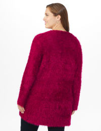 Westport Eyelash Duster Cardigan - Plus - Wine - Back