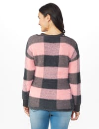 Westport Eyelash Cutout Neck Pullover Sweater - Multi - Back