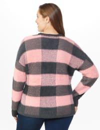 Westport Eyelash Cutout Neck Pullover Sweater - Plus - Back