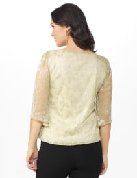 Roz & Ali Angel Sleeve Bubble Hem Blouse  - Petite - Champagne - Back