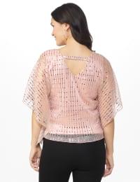 Roz & Ali Rose Gold Sequin Bar Back Blouse - Petite - Back