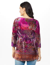 Influential Lady Velvet Knit Tunic Top - Misses - Plum - Back