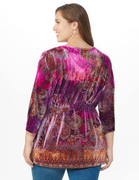 Influential Lady Velvet Knit Tunic Top - Plus - Plum - Back