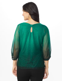 Roz & Ali Emerald Glitter Ombre Bubble Hem Blouse - Emerald - Back