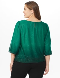 Roz & Ali Emerald Glitter Ombre Bubble Hem Blouse - Plus - Emerald - Back