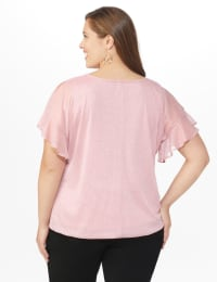 Roz & Ali Glitter Cold Shoulder Bubble Hem Blouse - Plus - Back