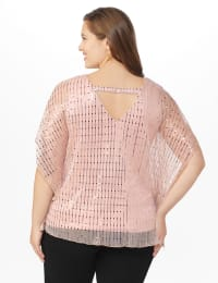 Roz & Ali Rose Gold Cold Shoulder Poncho - Plus - Mauve/Rose Gold - Back