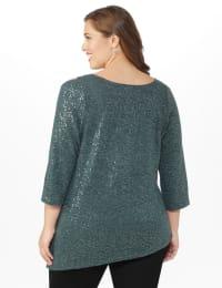 Roz & Ali Cold Shoulder Sequin Tunic Knit Top - Plus - Grey - Back