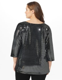 Roz & Ali Velvet Shimmer Dot Tunic Knit Top - Plus - Black - Back