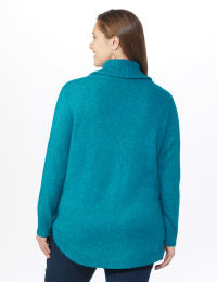 Westport Cowl Neck Curved Hem Sweater - Plus - Teal - Back