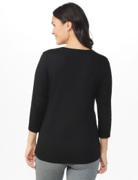 DB Sunday Snowflake Glitter Knit Top - Black - Back