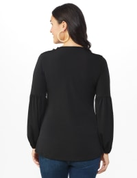 Westport Embellished Crochet Trim Knit Top - Misses - Black - Back