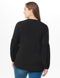 Westport Embellished Crochet Trim Knit Top - Plus - Black - Back