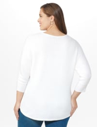 Westport Basketweave Stitch Curved Hem Sweater - Plus - White - Back
