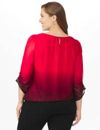 Roz & Ali Glitter Ombre Bubble Hem Blouse - Plus - Red/Black - Back