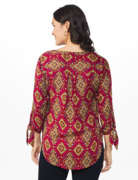 Westport Medallion Woven Pintuck Popover - Red/Black/Gold - Back