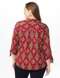 Westport Medallion Woven Pintuck Popover - Black/Red/Gold - Back