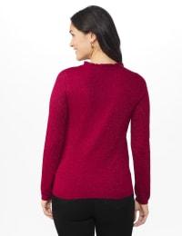 Roz & Ali Pointelle Ruffle Trim Pullover Sweater - Back