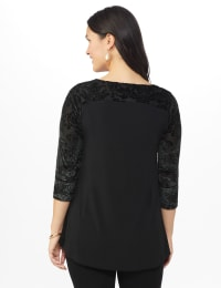 Roz & Ali Keyhole Illusion Fit & Flare Knit Top - Misses - Black - Back