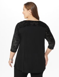 Roz & Ali Keyhole Illusion Fit & Flare Knit Top - Plus - Black - Back