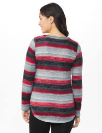 DB Sunday Lace Up Stripe Hacci Knit Top - Misses - Multi - Back